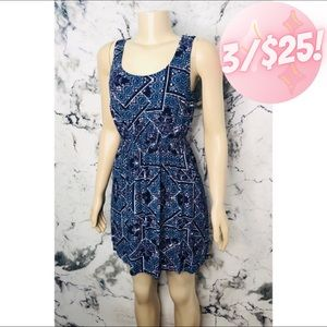 💖3/$25💖Pink Rose Geometric Mini Sun Dress Blue